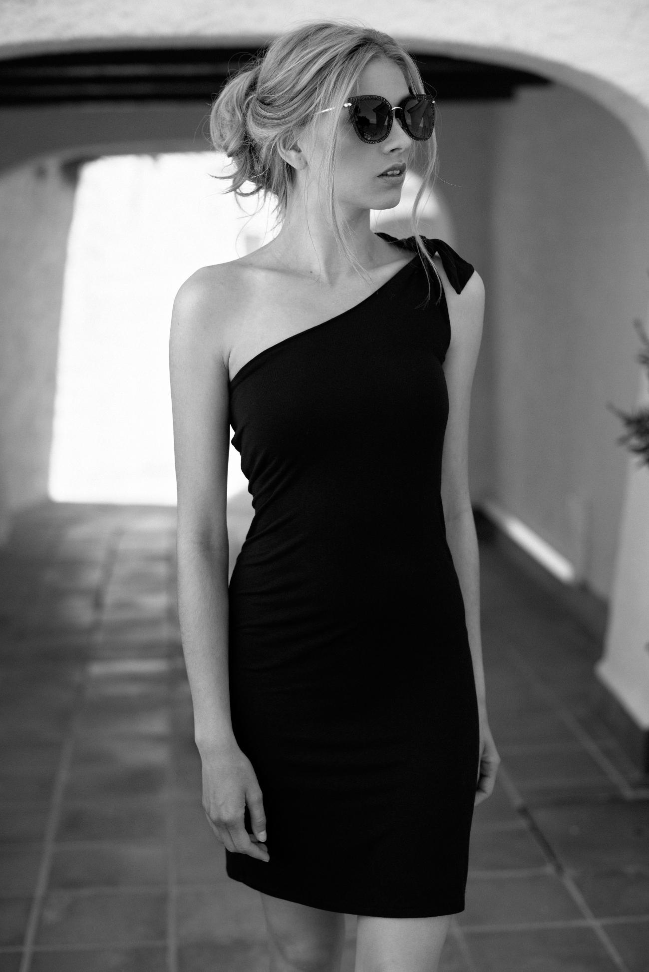 Vestido algodón negro de un tirante