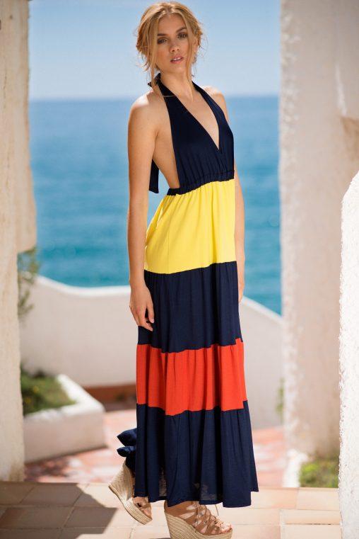 Vestido largo azul de rayas