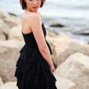 Vestido negro sin tirantes de volantes, Isabelas Bcn