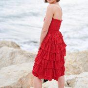 Vestido rojo sin tirantes de volantes, Isabelas Bcn