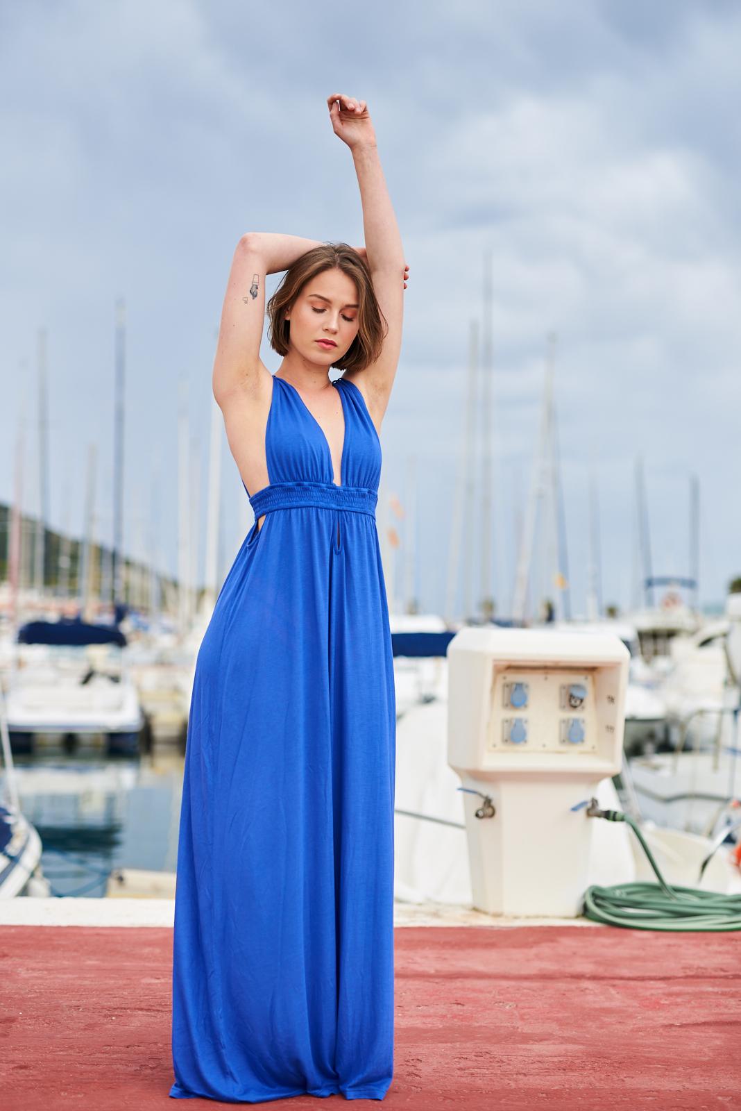 vestido lila largo con escote, Isabelas Bcn