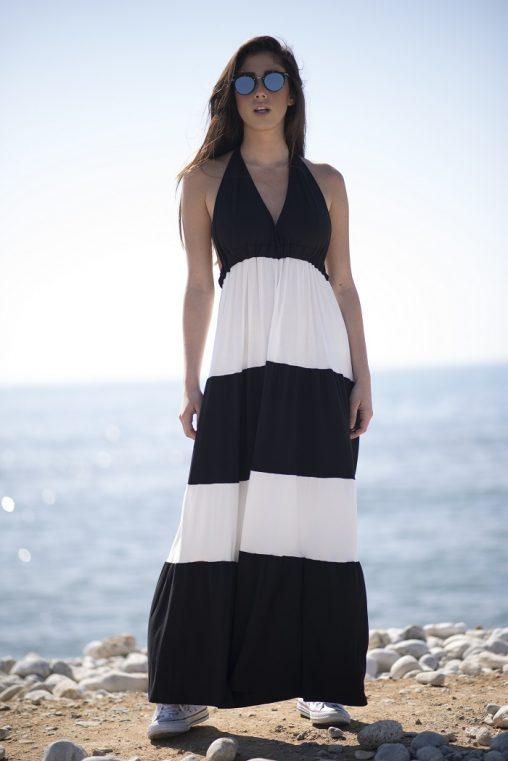 """Vestido largo escote """"halter"""", bicolor blanco y negro. Tejido algodón fluido."""